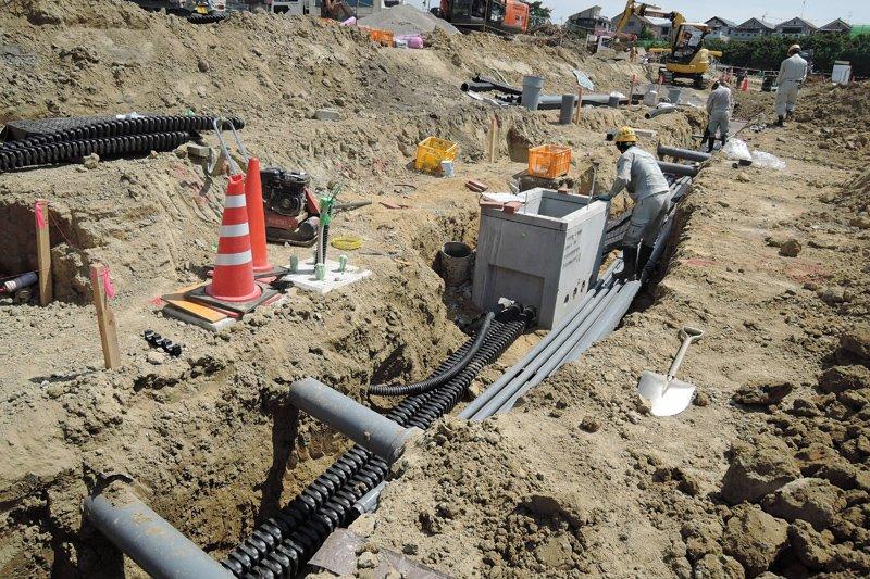 円山町で進められている無電柱化工事