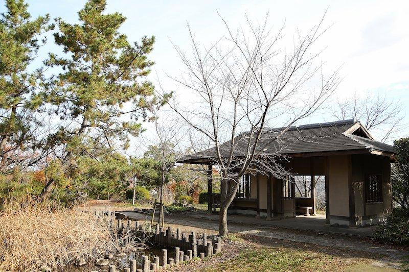 キショウブが植栽された「修景池」を眺めながら休憩できる